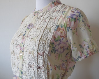 Floral Dress with Crochet Lace Front One Size Light Beige Color