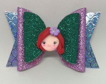 Ariel Inspired Bow // Little Mermaid Glitter Bow // Disney Princess Glitter Bow