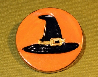 Black Witch Hat Halloween Handmade Porcelain Jewelry
