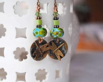 Dragonfly Earrings, Green Earrings, Insect Jewelry, Rustic Boho Earrings, Copper Earrings, Lampwork Earrings, Nature Inspired Jewelry,