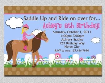 Horseback Riding Birthday Invitation, Girls Horseback Riding Birthday Party, Western Horse Birthday Party Invitations Printable
