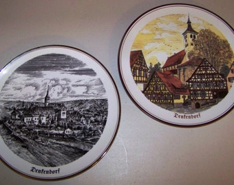 Reutter Porzellan West Germany Denfendorf Set Of Two Decorative Chargers