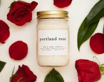 Portland Rose Soy Candle - 12 oz Rose Candle Oregon - floral candle - large candle - rose scented candle - Rose Candle - Oregon Candle - PDX