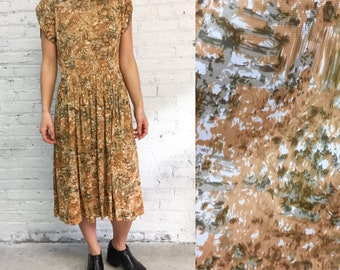 50s day dress / abstract watercolor neutral painterly print dress / tulip sleeve
