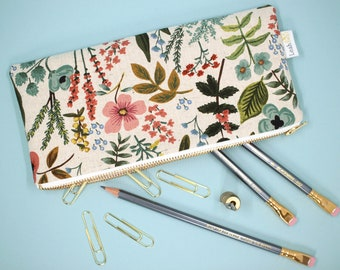 Floral Pencil Pouch, Rifle Paper Co Pencil Case, Botanical Zipper Pouch, Planner Pouch, School Supply Holder, Pen Case, Makeup Brush Holder
