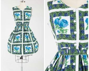 Vintage 1950s Dress • Mellifluent Sway • Blue Green Floral Print Cotton 1950s Shirtwaist Dress Size Medium