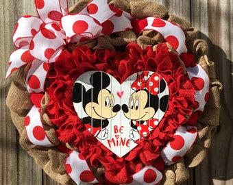 Ready To Ship, Burlap Mickey & Minnie Mouse Valentine's Heart Wreath