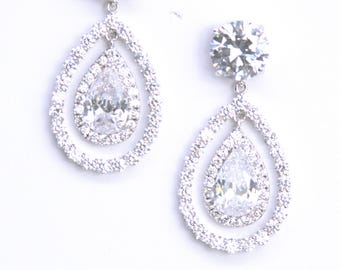 Modern Minimalist Diamante Teardrop Bridal Earrings Cocktail Earrings