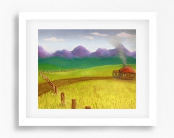 Country House Painting Print, Countryside Painting, Country Art Print, Little Cottage Artwork, Cottage Decor, Australian Art, Australia