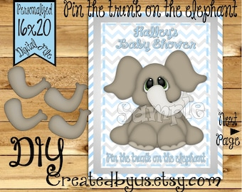 Pin the Trunk on the Elephant Baby shower game party banner Baby Elephant decorations decor Elephant theme 1st birthday name banner sign