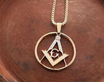 Masonic pendant etsy masonic emblem pendant and necklace masonic medallion hand cut 14 karat gold and rhodium aloadofball Gallery