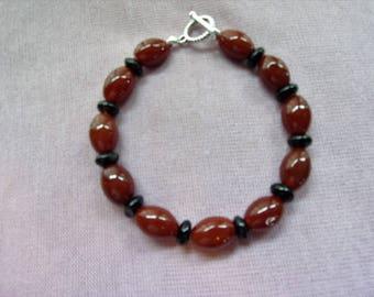 Men's Red and Black Agate bracelet