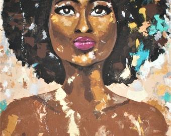 "African American Art- poster print ""RISE #1"" unframed"