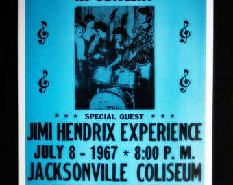 The Monkee's with Jimi Hendrix Experience Retro Concert Poster