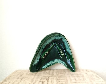 Vintage Large Boomerang Ceramic Ashtray, Drip Glaze, Green and White