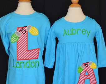 Christmas Lights with Initial Applique Shirt or Bodysuit Boy or Girl Choose your color!