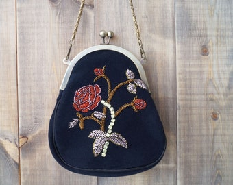 Rose, embroidery , purse, with chain handle