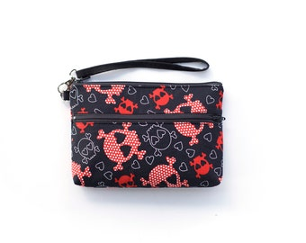 Out of Print Skull and Crossbones Wristlet with removable strap - punk rock - red and black