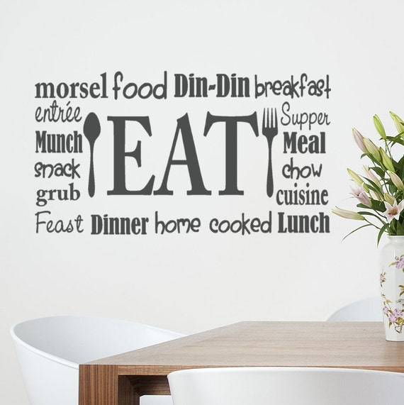 Kitchen Remodel Quotes: Kitchen Wall Decal Eat Sign Vinyl Lettering Fork And