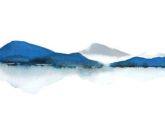 Blue and White Painting Print, Grey Blue Landscape Painting, Watercolor Painting,Mountain Artwork, Grey White Wall Art, Water Reflection Art