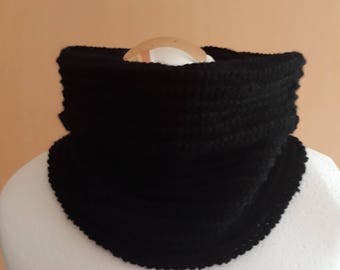 Knitted black snood knitted  black scarf knit scarf knit snood