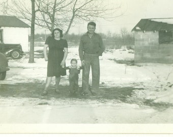 1940s Farm Family Toddler Boy Standing OUtside Snow Winter 40s Vintage Photograph Black White Photo