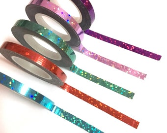 Holographic Tape,  Iridescent Skinny Tape, Holographic Dots Tape, Planner, Bullet Journal Slim, Holo, Blue Foil, Metallic, Red, Purple, Cyan
