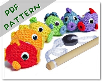 PATTERN Magnetic Fish Set PDF - Crochet Fishing Toy Instant Download