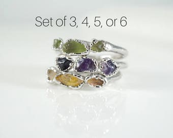 Stacking Ring Set • Raw Stone Ring • Birthstone Rings • Gift for Women • October Birthstone • Anniversary Gift • Statement Ring • Rough Gem