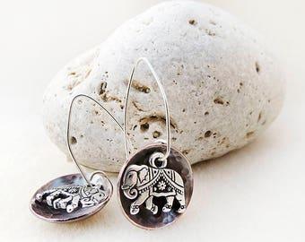 Elephant Earrings, Copper, Sterling Silver, Hammered Discs, Forged, Zen, Yoga, Good Luck, Prosperity, Wisdom, Longevity, Gift for Woman