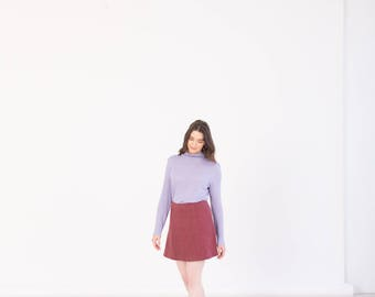 Burgundy high waist mini skirt  - Sustainable hemp womens clothing