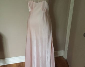 Vintage Pink Satin Nightgown Full Length Hollywood Glam