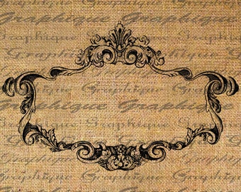 ORNATE French FRAME Empty Great 4 Labels Digital Collage Sheet Download Burlap Fabric Transfer Iron On Pillows Totes Tea Towels No 3876