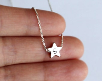 Tiny Silver star necklace, mini Rhodium Plated star necklace, hand stamp initial, Bridesmaid, friendship, girlfriend boyfriend necklace gift