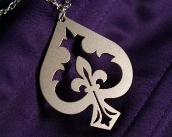 Fleur de lis Spade necklace in silver stainless steel - Ace of Spades
