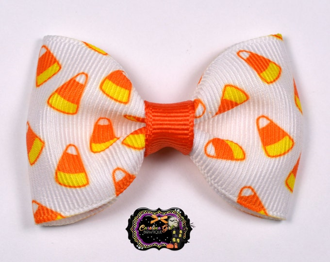 "Candy Corn 2.5"" Hair Bow Tuxedo Bow Simple Bow Boutique Bow for Babies Toddlers Girls Hair Bows"