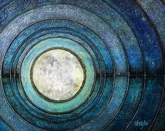 Enlightenment - metallic photographic print : modern zen, sacred geometry, moon and sky, teal