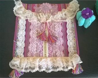 Romantic Boho Crossbody Bag -Pink Bag Vintage Design - Lace Sweet Floral appliques