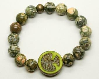 Rhyolite bracelet- women's bracelet- stretch bracelet- beaded bracelet