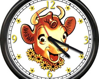 Borden's Elsie The Cow Dairy Farm Cows Farmer Kitchen Butter Milk Sign Wall Clock
