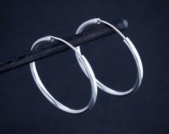 Silver Hoops, Hoop Earrings, Simple Hoops, Classic Hoops, Modern Earrings, Minimal Earrings, Everyday Earrings, Sterling Silver, 925