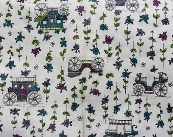 50s Novelty Print Fabric - Over 1.5 Yards x 36 1/2 Inches Wide - Antique Automobiles - Horseless Carriages - Stagecoaches - Old Cars - 45688