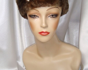 Brown Faux Fur Pillbox Hat, Russian Zhivago Style Fur Hat, Mr. Selfridge and Downton Abbey Inspired Hat