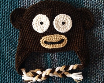 Cute Brown Monkey Hat with Earflaps