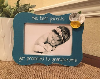 Gift For Grandparents Grandparents Personalized Picture Frame Only The Best Parents Get Promoted To Grandparents, Nana & Papa Christmas Gift