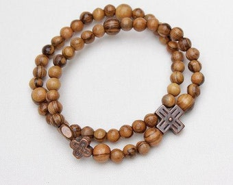 Olivewood Rosary Bracelet/Olivewood Catholic Bracelet/Olivewood Christian Rosary Bracelet