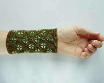 Moss green, brown and cream beaded wrist warmers/ knitted wristlets with beads / woollen cuffs – ready to ship