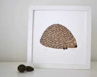 Hedgehog Screen Print - Woodland Animals - Hand Printed Limited Edition of 250