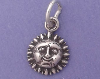 SUN FACE Charm .925 Sterling Silver MINIATURE Small - elp604