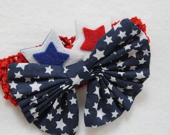Baby headband,4th of July Headband,adjustable headband, bow headband, baby girl headband,red, blue,Navy Blue headband,star headband